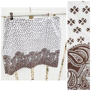 Geoffrey Beene Sport Brown White Paisley Skirt 12